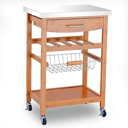 Amazon Com Lapha Basket Table Shelves Drawer Rolling Serving Cart