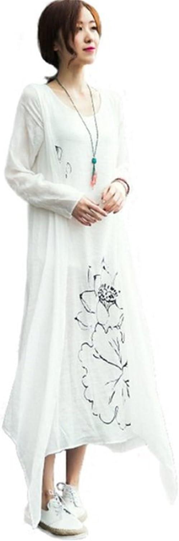Lovecarnation Womens Fake 2PCS Chinese Style Lotus Printed Cotton Linen Maxi Dress
