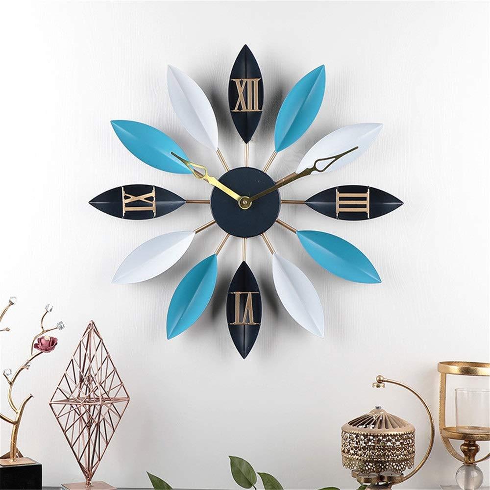 ヨーロッパ錬鉄製の葉の壁時計バー装飾クリエイティブリビングルームの壁時計ローマンミュートクロック (Color : 58cm gold needle ocean)   B07RLFS68G