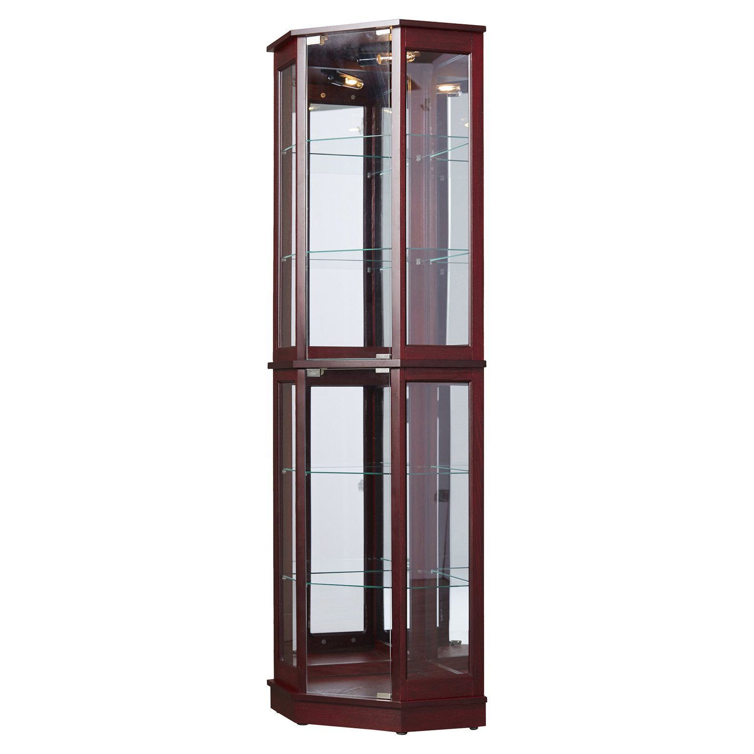 Tall Lighted Corner Curio Cabinet Corner Hutch For Collectibles China Or As A Liquor Cabinet Display Case With 2 Shelf Platforms 4 Adjustable