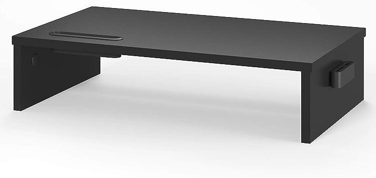BONTEC Soporte Monitor Elevador Monitor Alzador Pantalla Ordenador de Monitor Ordenador Negro, W420 x D235 x H104 con Soporte para teléfono ...