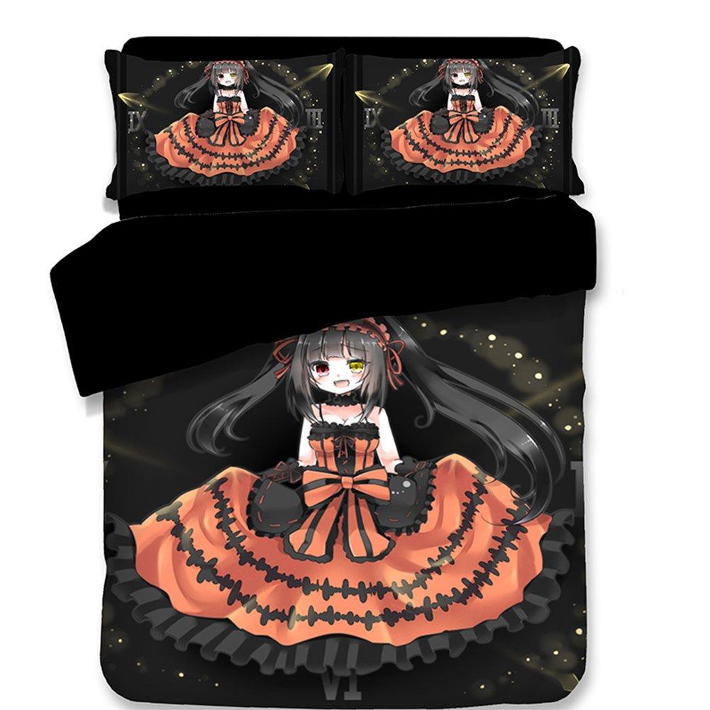 Japanese Anime Cartoon Kids Bedding Set, Kurumi Style Duvet Cover Fashion Teenager Bed Sheets Twin Size 100% Polyester