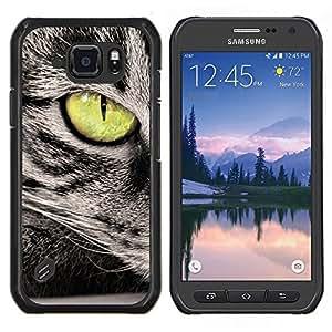 EJOOY---Cubierta de la caja de protección para la piel dura ** Samsung Galaxy S6Active Active G890A ** --Verde del ojo de gato gris Wirehair americano