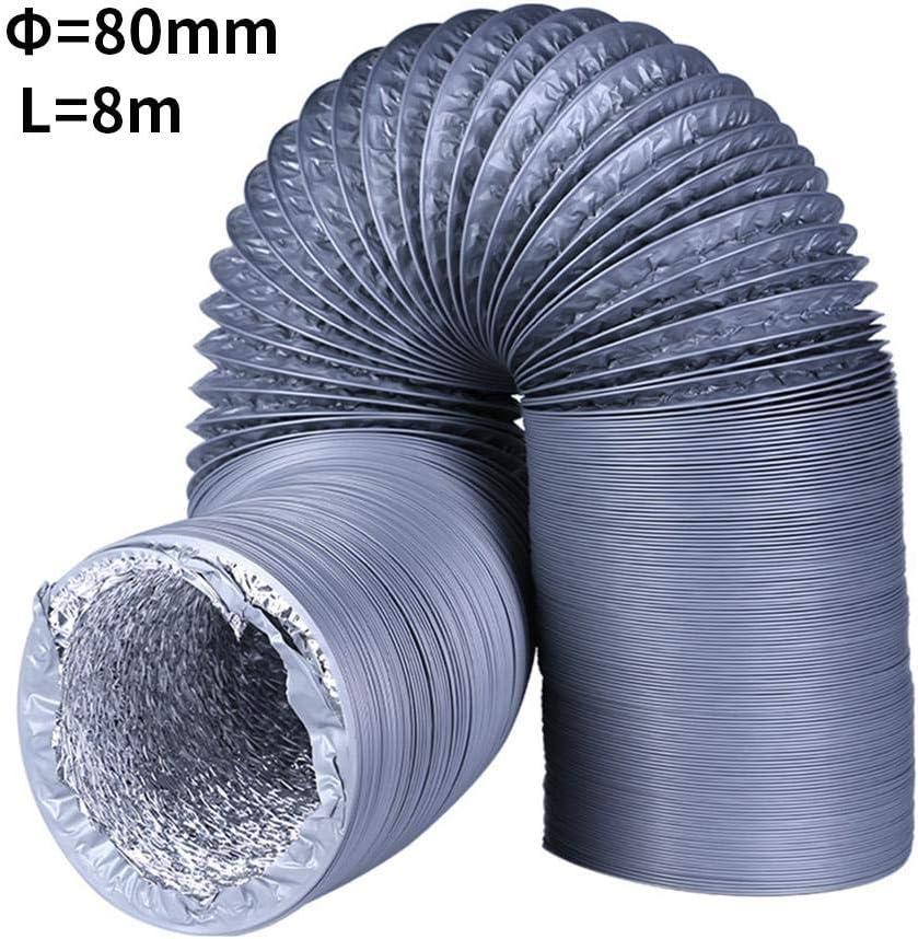 Flexibler Aluminium-Luftschlauch Wachstumszelte 3-lagiger Schutz f/ür Bel/üftungssystem Trocknerr/äume K/üche Volwco Luftkanal 3,9 m 3 26ft 7,6 cm Abluftkanal Auspuff