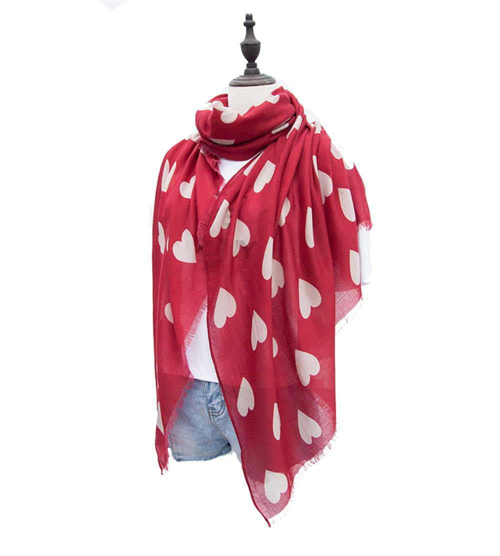 KUPARK Womens Fashion Sweet Heart Print Scarf Shawl Wrap