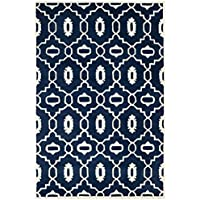 Safavieh Chatham Collection CHT745C Handmade Dark Blue and Ivory Premium Wool Area Rug (4 x 6)