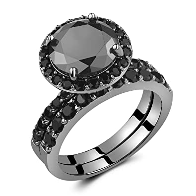 caperci black sterling silver 925 black round diamond spinel solitaire wedding ring bridal set size 5 - Black Diamond Wedding Ring Set