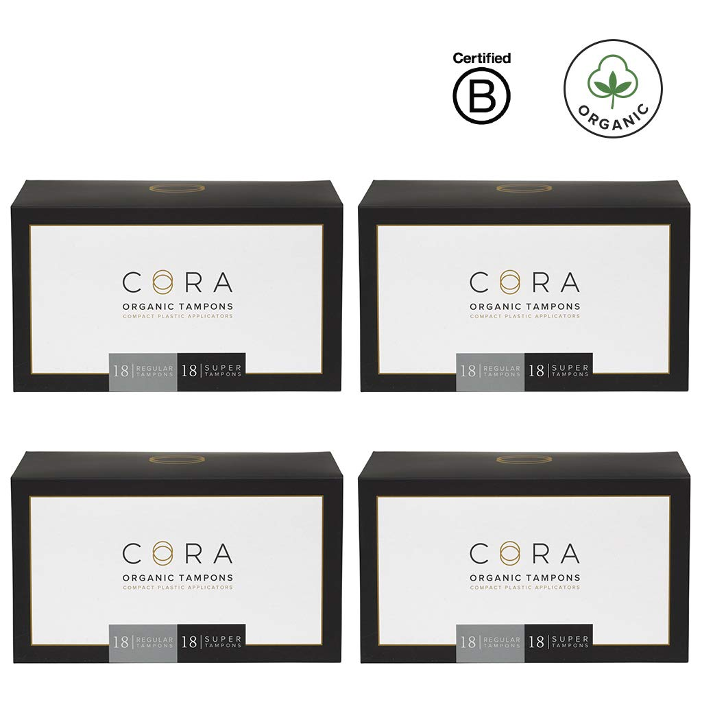 Cora Organic Cotton Tampons with Compact Applicator; Variety Pack - Regular/Super (144)