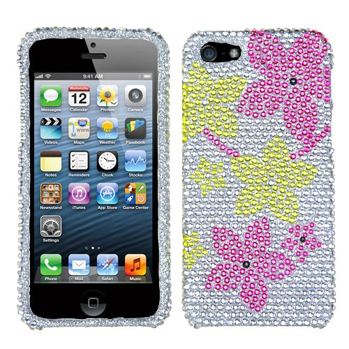 Asmyna IPHONE5HPCDM379NP Luxurious Dazzling Diamante Bling Case for iPhone 5 - 1 Pack - Retail Packaging - Hibiscus Flower Romance