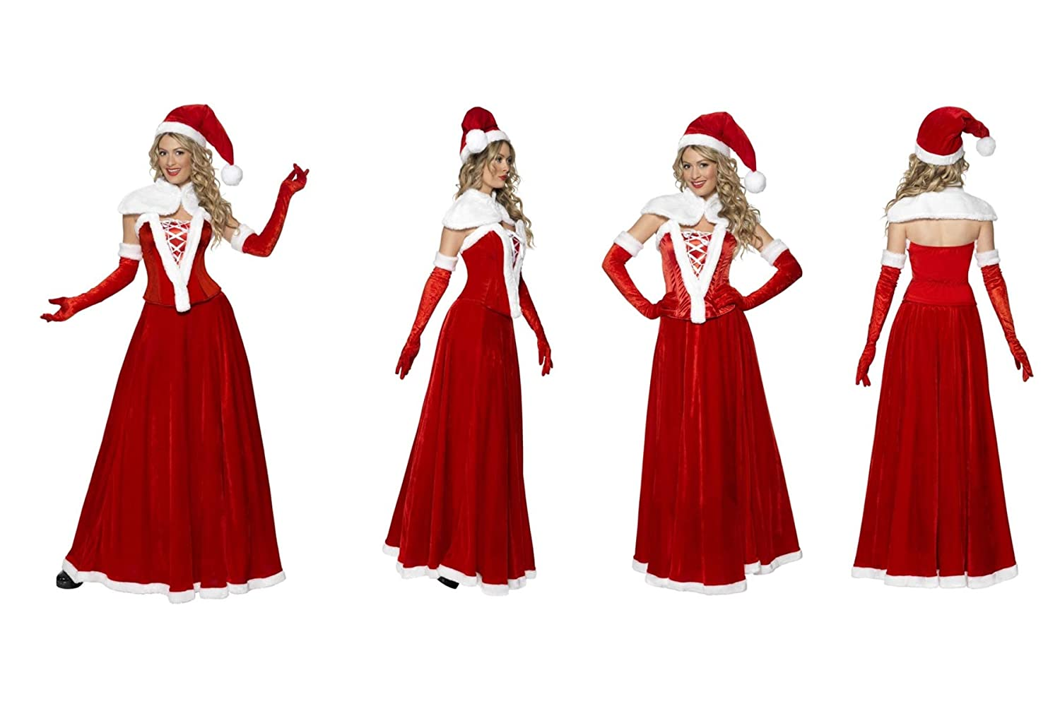Fancy Dress World – Donna Sexy Lusso Miss Santa Costume – rosso INC Cappello, Mantello, Corsetto, Gonna e Guanti – Christmas Day Capodanno Fun -