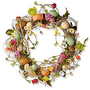 National Tree Company Garden Accents 18 in. Easter Twig Wreath with Eggs and Flowers 68