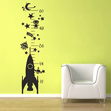 Amazon com battoo growth chart wall decal rocket growth chart