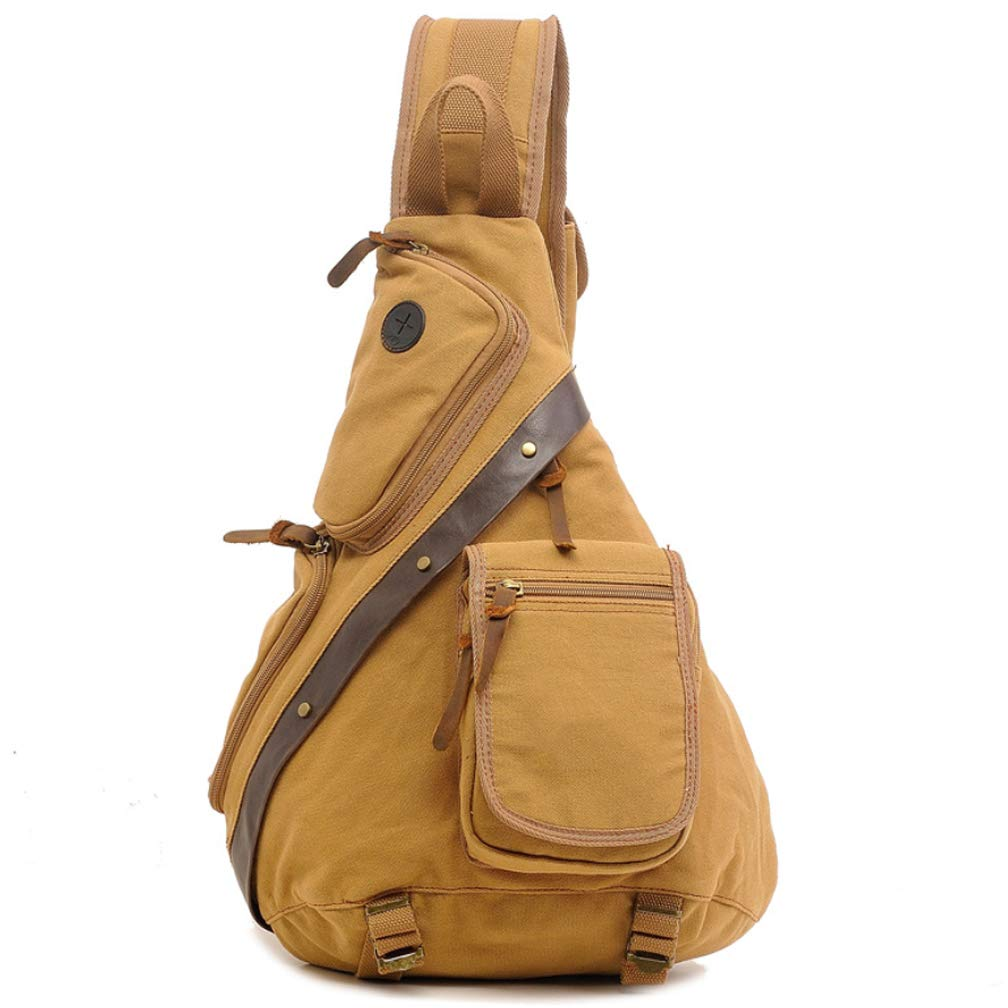Width 14.5 High 50CM New Multi-Function Canvas Bag Large Capacity Chest Bag Shoulder Bag Dual-Use Shoulder Mens Messenger Bag Trend Mens Bag Khaki Coffee Army Green 15 Inch Long 35