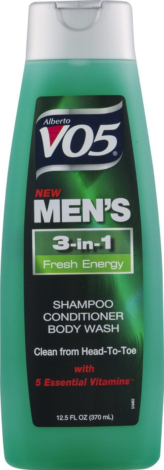 3 Pk, Alberto VO5 Men's 3-in-1 Shampoo Conditioner Body Wash Fresh Energy, 12.5oz