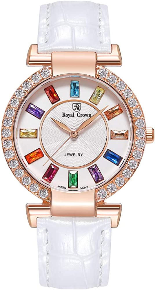 RC ROYAL CROWN Women s Crystal-Accented Fashion Leather Rose Gold-Tone Bangle Watch Jewelry Bracelet Wrist Watches