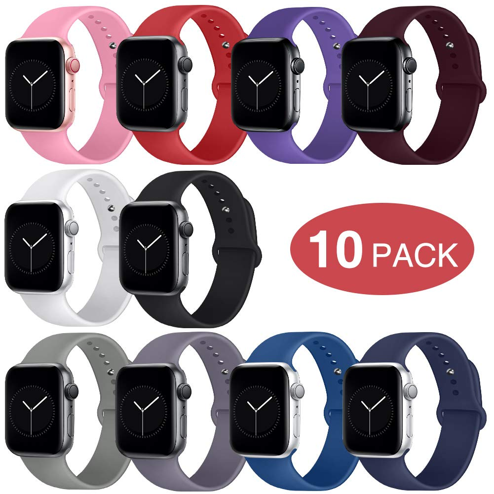 OriBear Compatible with Apple Watch Band 38mm 40mm for Women and Men, Soft Durable Silicone iWatch Band Replacement Sport Band Compatible with Apple Watch Series 4, Series 3/2/1 S/M 10 Pack by OriBear