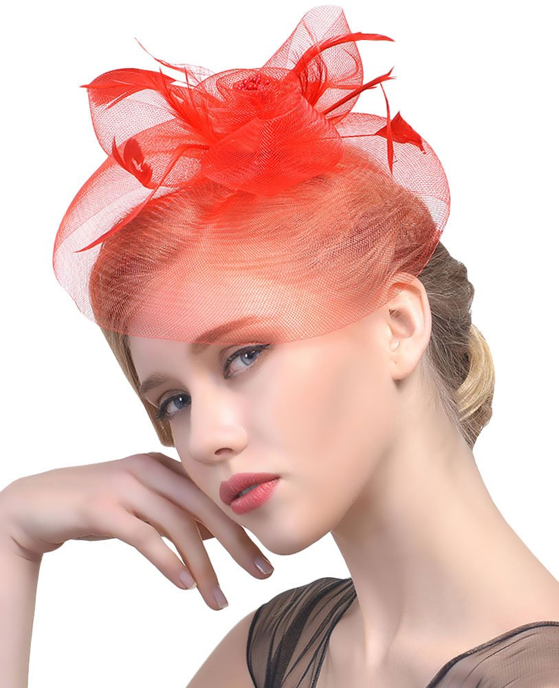 Urban CoCo Women's Elegant Flower Feather and Veil Fascinator Cocktail Party Hair Clip Hat (Series 4-Red)