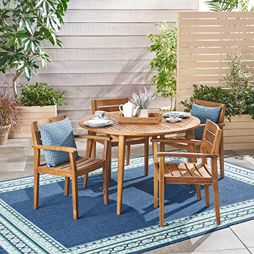 Great Deal Furniture 305307 Keth Outdoor 5 Piece Acacia Wood Dining Set, Teak, Finish ()