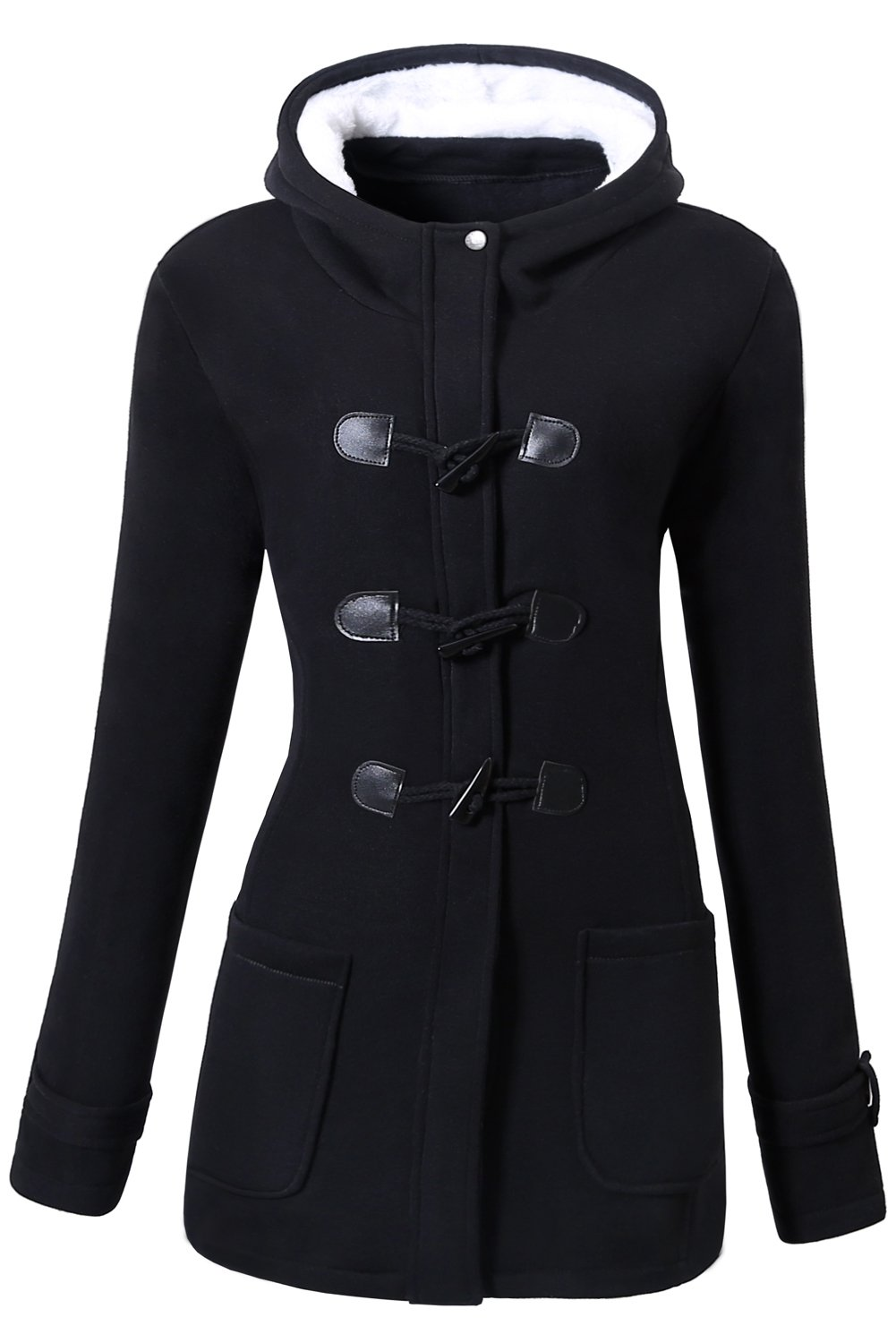 VOGRYE Womens Winter Fashion Outdoor Warm Wool Blended Classic Pea Coat Jacket Black Large