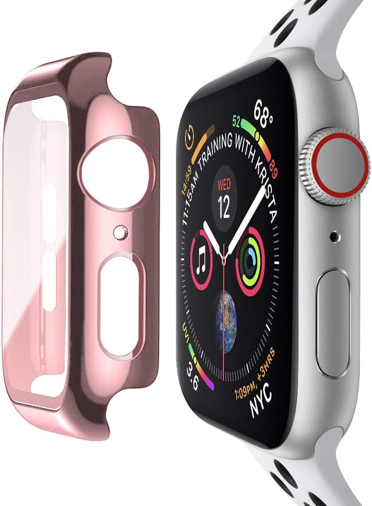 baozai Compatible with Apple Watch 42mm Case with Built-in Tempered Glass Screen Protector, Full Coverage Hard iWatch Case for Series 3/2/1 (Rose Pink, 42mm Series 3/2/1)
