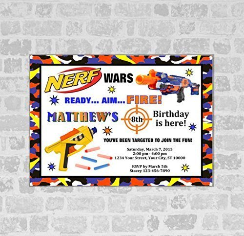 Free Printable Nerf Birthday Invitations ~ Nerf wars invitations birthday party gun invites matte finish buy