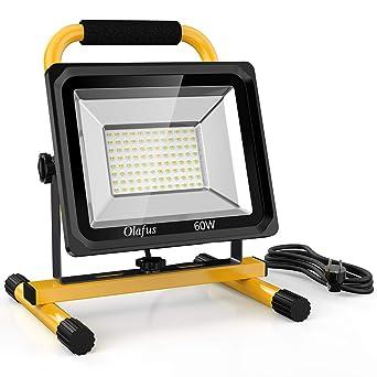 Olafus Foco LED Trabajo 60W 6000LM con Soporte, Equivalente a 400W ...