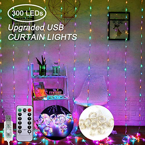 Vingtank Curtain String Light-300 LED 9.84×9.84ft with USB Powered 8 Mode Setting Fairy String Lights for Wall, Bedroom, Wedding, Party, Christmas Decorations