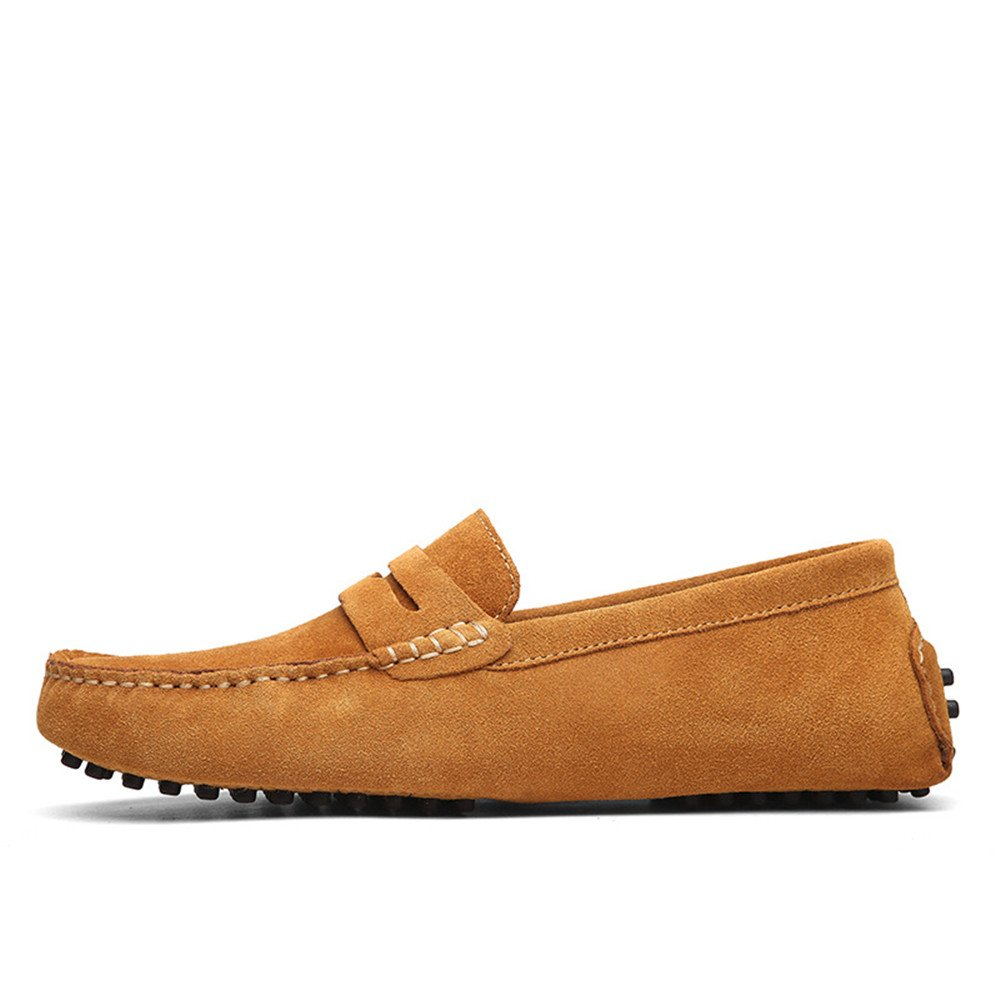 Conducción de los Hombres Penny Loafers Suede Cuero Genuino Casual Mocasines Slip-On Boat Shoes 43 EU|Brown