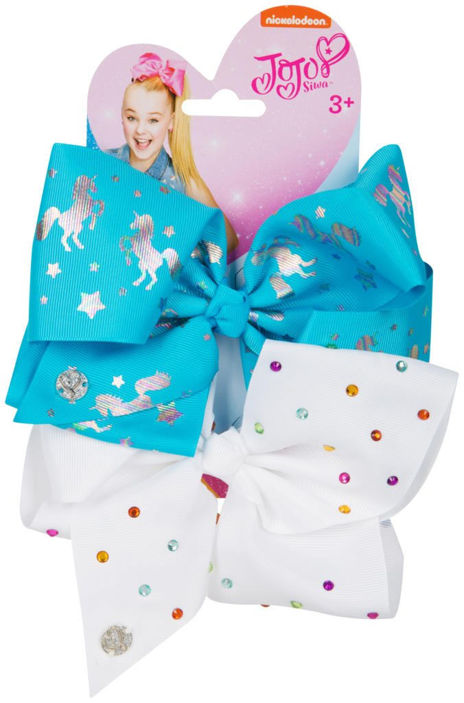 Official JoJo SiwaTurquoise Unicorn & White Diamante's 2 Pack Hair Clip Bow Set with Charms - worldofhoisery JJS-064