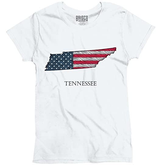 6b819ccf7e9 Brisco Brands Womens Cool Graphic T Shirt Tennessee State Pride American Flag  USA Patriotic White