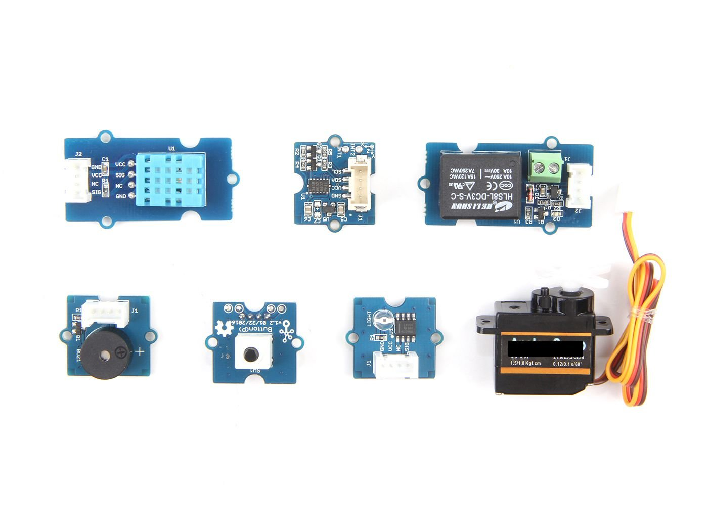 Grove Starter Kit for Wio LTE,Contain light sensor and temp&humi sensor,3-Axis Digital Accelerometer(±16g),Relay,Buzzer,Button(P),Servo,With all the features of learning and rapid prototyping