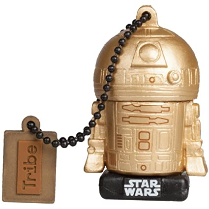 Tribe Star Wars 8 Pendrive - Memoria USB Flash Drive 2.0, de Goma, de 16 GB con Llavero, diseño R2D2 Gold