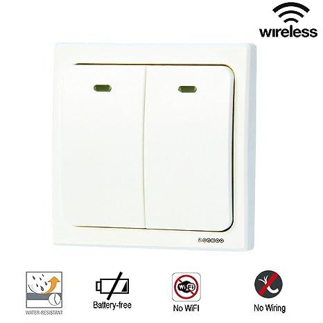 Acegoo Wireless Light Switch - 2 Gang Self-powered Smart Wall Switch, on