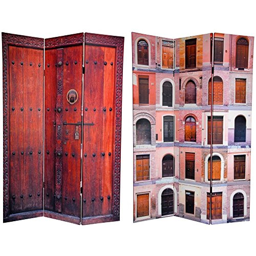 Oriental Furniture 6 ft. Tall Double Sided Doors Canvas Room Divider