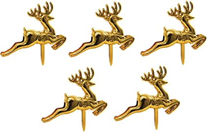 Cake Toppers Merry Christmas Cake Decoration 6-10 Pieces Cupcake Toppers Multi Purpose Decoration Gold Reindeer