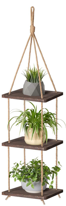 Mkono Wood Hanging Planter Shelf Plant Hanger 3 Tier Decorative Flower Pot Rack with Jute Rope Home Decor, 43 Inch by Mkono