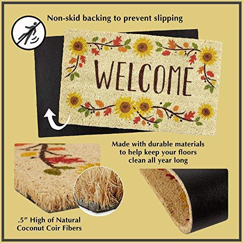 DII Home Natural Coir Doormat, Indoor/Outdoor, 18x30, Welcome Hearts