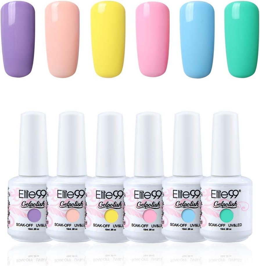 Elite99 Esmaltes Semipermanentes de Uñas en Gel UV LED, 6 Colores Kit de Esmaltes de Uñas, Esmaltes en Gel Soak Off 15ml 001