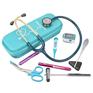 BOVKE Travel Case for 3M Littmann Classic III, Lightweight II S.E, Cardiology IV Diagnostic, MDF Acoustica Deluxe Stethascopes - Extra Room for Taylor Percussion Reflex Hammer and Penlight, Turquoise (Color: Turquoise)