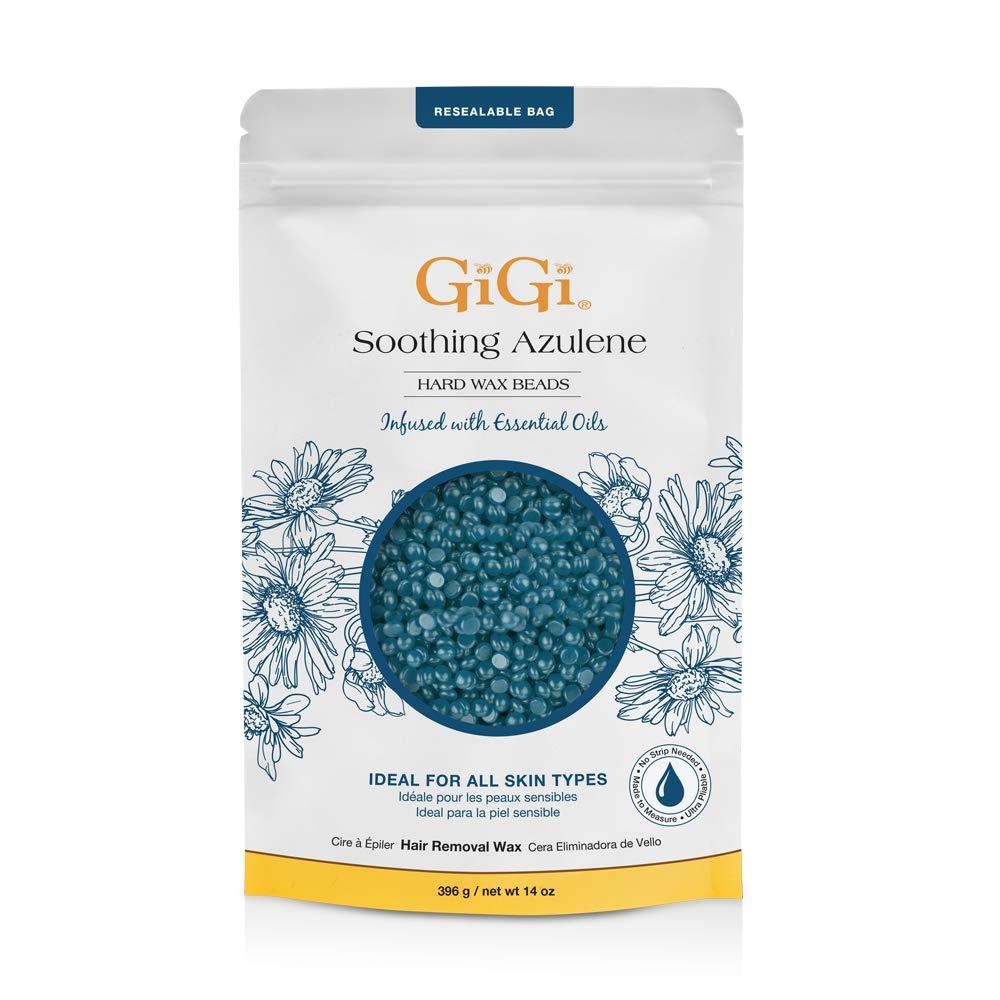 GiGi Hard Wax Beads, Soothing Azulene Hair Removal Wax for Sensitive Skin, 14 oz