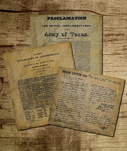 Documents of Texas Bundle. Texas Declaration of Independence, Travis Letter and the (Declaration Of Independence Portrait)