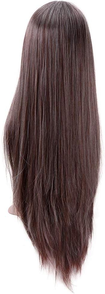 Pelucas rectas largas y de color marr/ón oscuro para mujeres Aspecto natural Resistente al calor Parte media Cosplay Disfraces Peluca 22 pulgadas
