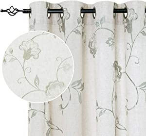 jinchan Linen Textured Curtains for Living Room Long Embroidered Design Window Curtains Privacy Flax Linen Look Window Treatment Set for Bedroom Grommet Top 2 Panels 63