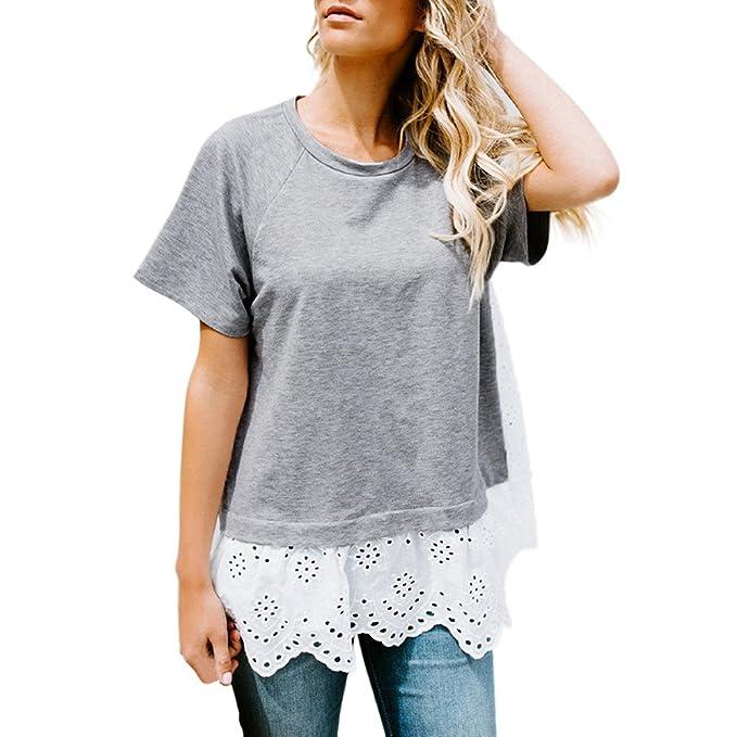Cloom Frauen Top Bestickt Hohlen Bluse Kurzarm Casual T-Shirt Frau Kaltes  Schulter-Sweatshirt mit Langen Ärmeln Pullover Tops Schulterfrei Bluse Damen  Cold ... 27c6357212