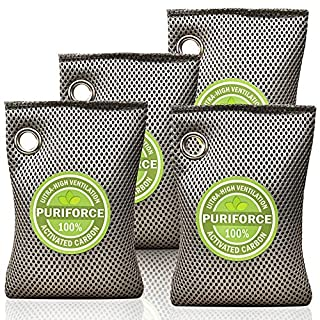Coconut Charcoal Air Purifying Bag - Activated Charcoal Bag Odor Absorber, Natural Car Air Freshener, 3 Times Absorption Efficiency Air Purifier - Odor Eliminator for Home, Closet (7oz x 4Pack)