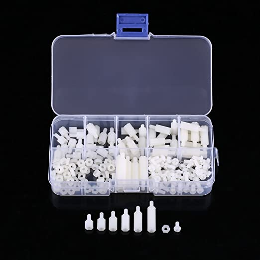 Blanco-180Pcs Nylon Screw-180pcs//box M3 Nylon Tornillo Tuerca Macho-Hembra Kit de surtido de combinaci/ón de separadores