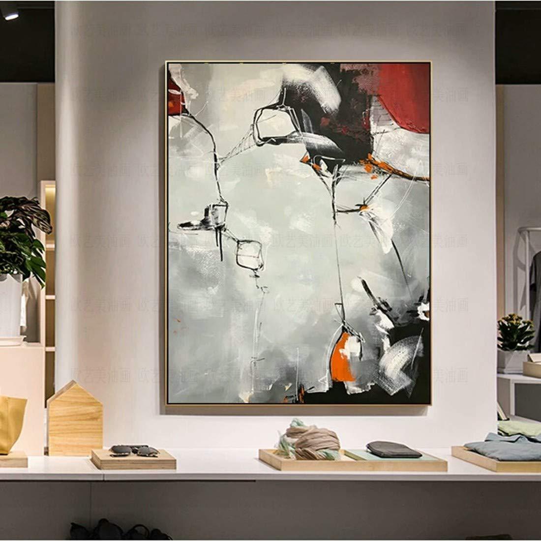 oferta especial 30×50cm FENGJIAREN 100% Pintura Al Óleo Pintada Pintada Pintada A Mano Pura Gran Tamaño De Encargo Abstracto gris Pintura Al Óleo Modelo Decoración De La Habitación Pintura Sala De Estar Mural Pintura De La Parojo del  nueva marca