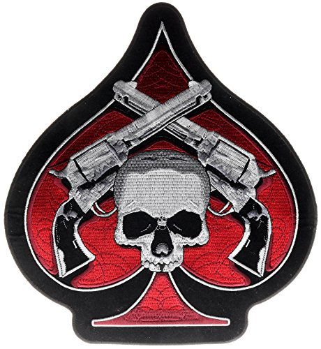 (Ace Spade Six Shooter Pistol Skull 10x11 inch Iron On Back Patch HTL16641)