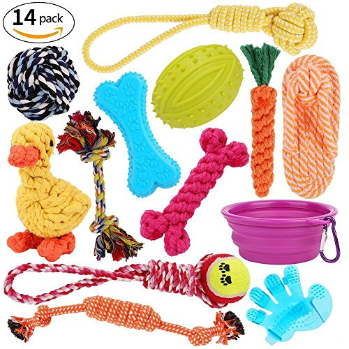 royalwise Dog Toys Set Pet Rope Toys Value Pack Puppy Christmas Gift Dog Cotton Chew Toy Assortment 14 Pcs For Small Medium Large Dogs