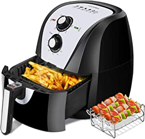 Secura Air Fryer XL 5.3 Quart 1700-Watt Electric Hot Air Fryers Oven Oil Free Nonstick Cooker w/Additional Accessories, Recipes, BBQ Rack & Skewers for Frying, Roasting, Grilling, Baking (White)